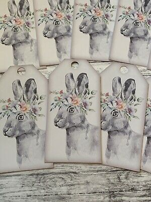 £2.99 • Buy Hare Floral Gifts Tags Wedding Baby Shower Birthday Handfasting Favour Easter