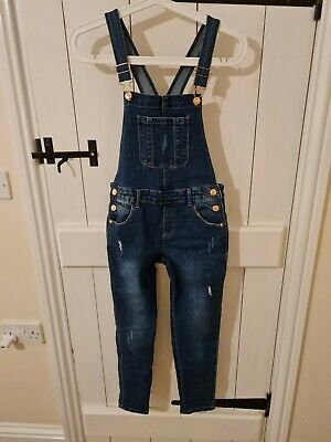 Girls Blue Denim Dungarees Age 9 - 10 • 0.99£
