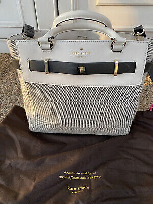 $ CDN113.90 • Buy KATE SPADE Black White Tweed Purse Tote Shoulder Bag White Leather Euc Buckle