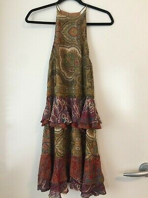 AU139 • Buy Zimmermann Multicolor Paisley Ruffle Silk Dress Size 0