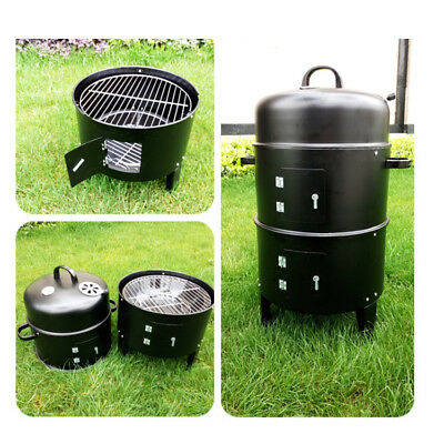 AU65.99 • Buy 3-IN-1 PORTABLE CHARCOAL SMOKER BBQ Roasting Grill For Backyard/Camping