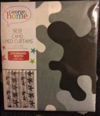 Tab Top Lined Camouflage Curtains - 66x54 Inch Kids Room Brand New. • 14.99£