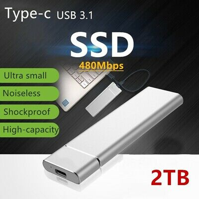 USB 3.1 External SSD Solid State Drive 1TB 2TB Portable Mobile Hard Drive • 38.99£