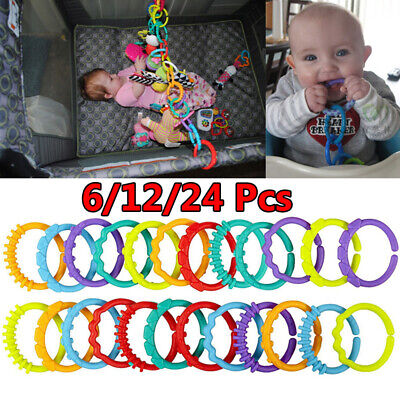 £2.99 • Buy 6/24Pcs Rainbow Teether Ring Links Plastic Baby Kids Infant Stroller Play Toys
