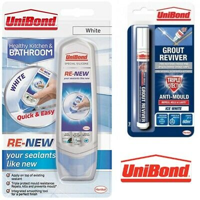 Unibond Grout Reviver Pen Or Silicone Renew For Bathroom Kitchen Tiles • 5.89£