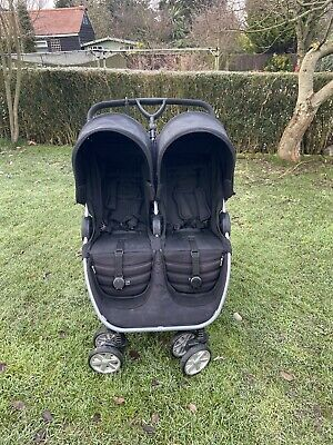BRITAX ROMER B-Agile Black Double Pushchair With Carrycot & Raincover • 80£