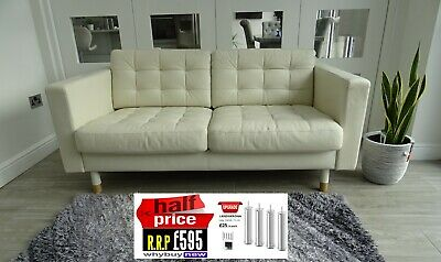 Rrp £595 Ikea Landskrona White/cream Two Seater Leather Sofa Office Chesterfield • 265£