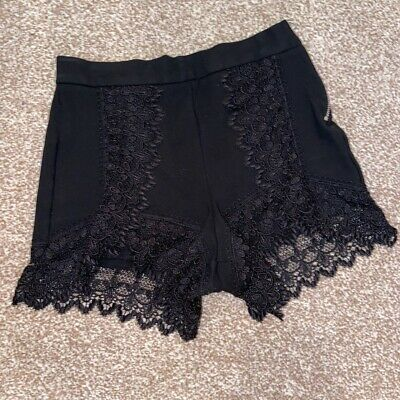 Topshop Size 6 Black Shorts With Lace Trim  • 3.50£