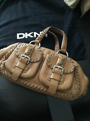 Dkny Tan Leather Shoulder Bag With Dust Bag Lining Has Small Marks See Photos • 20£