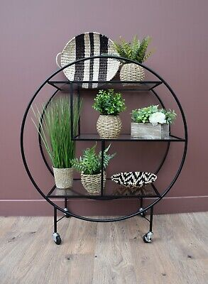 £219.99 • Buy Art Deco Matt Black Round Finished Drinks Trolley Bar Cart With 3 Glass Shelves
