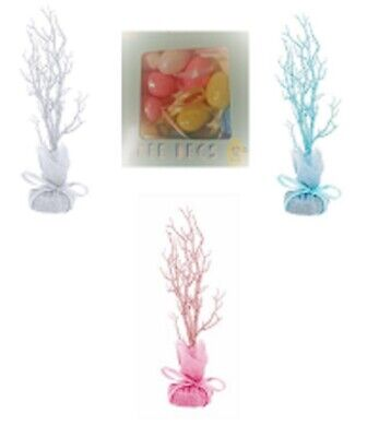 Easter Tree Table Top Twig Hanging Decoration Glitter Pink -Blue & PASTEL EGGS • 2.50£