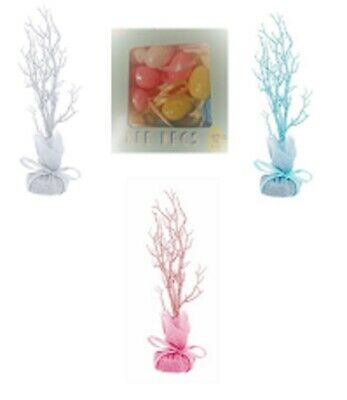 Easter Tree Table Top Twig Hanging Decoration Glitter Pink -Blue & PASTEL EGGS • 8.99£