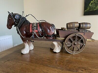 Vintage 1970's Large Ceramic Shire Horse And Cart With Barrels Ornament. Kitsch • 9.99£
