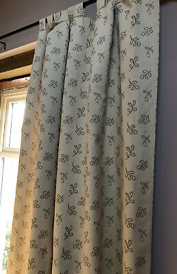 Tab Top Fully Lined Heavyweight Curtains Pair Neutral Sage Green 230cm X 167cm • 1.70£