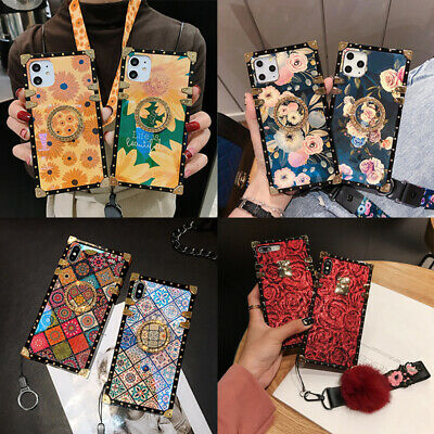 AU15.47 • Buy For IPhone 13 12 11 Pro Max X XR 8 Luxury Flower W/ Ring Metal Square Case Cover