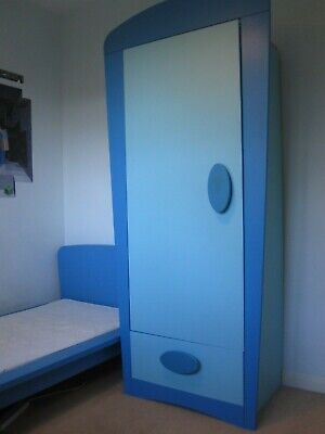 Ikea Blue Mammut Kids Bed With Mattress, Wardrobe And Chest Of Draws  • 35£