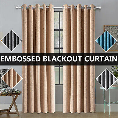 Thick Thermal Blackout Ready Made Pair Of Eyelet Ring Top Curtain Panels • 19.99£