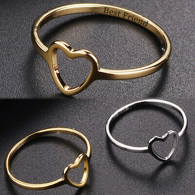 Girl Lady Heart Shaped Love Ring Gift Simple Fashion Best Friend Friendship UK • 3.99£