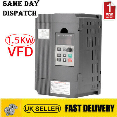 £47.95 • Buy 1.5Kw Variable Frequency Drive Inverter CNC Motor Speed VFD Single To 3 Phase