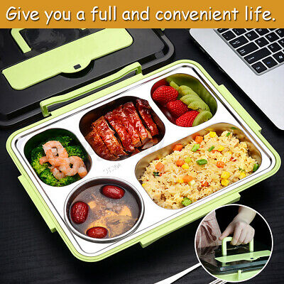 AU18.19 • Buy 4/5 Grid Stainless Steel Thermal Insulated Lunch Box Bento Food Picni