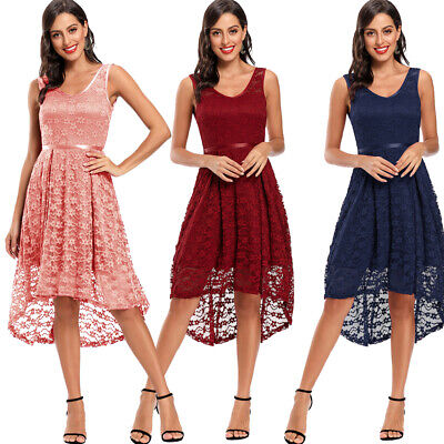 Short Bridesmaid Dress Women Lace Sleeveless Wedding Evening Party High Low Gown • 20.85£