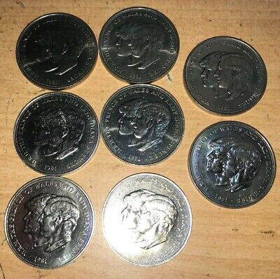 8 X Royal Wedding Crown HRH Prince Of Wales And Lady Diana Spencer 1981 Coins • 0.99£