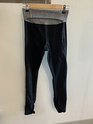 $ CDN25.30 • Buy Lululemon Women's Fold Over High Waist Leggings Pants Size 10 Black Gray Scrunch