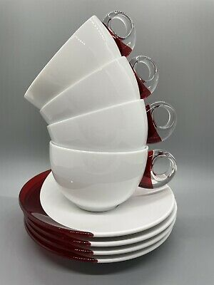Guzzini Brand Red Cappuccino Tea Coffee Cup Set Of 4 + Illy Sugar!  Italy • 49.27£