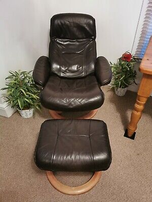 Swivel Recliner Lazy Chair Brown Leather Armchair With Stool • 100£
