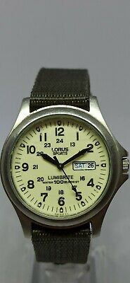 Gents Lorus By Seiko Vx33-x068 Sport's Lumibrite Military Style Dial With Box • 8.50£