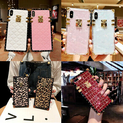 AU14.19 • Buy For IPhone 13 12 11 Pro Max X XR 7 Case Luxury Retro Square Marble Glitter Cover