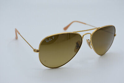 AU77.49 • Buy Ray-Ban Aviator RB3025 112/M2 Polarized Gold Brown Sunglasses Italy 55[]14 #2057