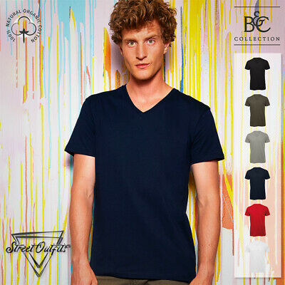 Mens Organic Cotton V-Neck T-Shirt B&C Inspire Luxury Short Sleeve Ringspun Top • 6.95£