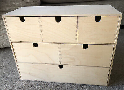 Ikea MOPPE Classic Birch Plywood Mini Wooden Chest Of 6 Drawers Storage Boxes • 24.99£