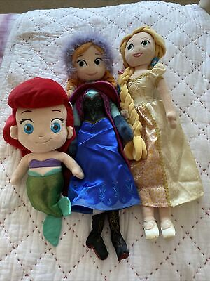 Disney Store Soft Plush Doll Toy Teddy Cuddly Princesses (rapunzel, Ana & Ariel) • 2.20£