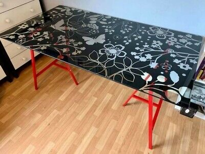 IKEA, Glass Table Desk Top, VIKA GLASHOLM, Butterflies. No Legs. Collection Only • 18£