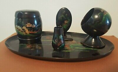 Vintage Japanese Lacquer Smokers Set / Dressing Table Set • 25£