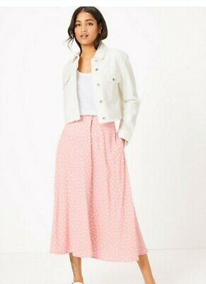 Marks And Spencer Pink With White  Polka Dot Button Up Midi Skirt 16 • 6£