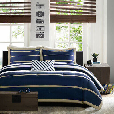 $ CDN126.59 • Buy New Design Chic Navy Blue Stripe Comforter Cal King Queen Twin XL Bedding Set