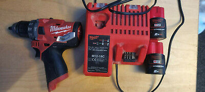 Milwaukee M12 12V Li-Ion Cordless Fuel Hammer Drill - M12FPD, 2x 2ah And Charger • 65£