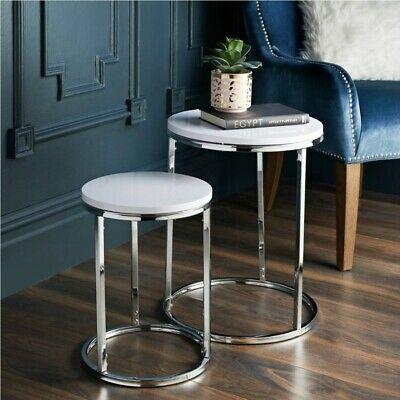High Gloss Set Of 2 Coffee Nest Tables Side/End Table Norsk With Chrome Legs  • 49.99£