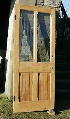 £120 • Buy Old Four Panel Door Stripped Waxed Solid Pine Half Glazed Victorian / Edwardian
