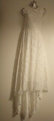 White Lace Full Length Dress With Dipped Hem Line, Prom/bridesmaid/wedding/party • 2.50£