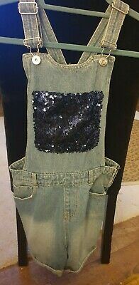 Girls Denim Dungaree Shorts Playsuit Immaculate Condition Worn Once Age 12-13  • 5£