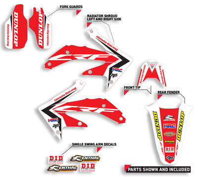$59.99 • Buy 2004 - 2005 Honda Crf 250r Graphics Kit Decals Motocross Decals Red Design
