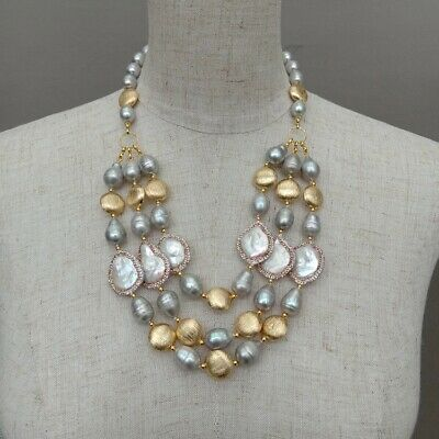 AU32.49 • Buy 3 Rows Freshwater Cultured Gray Rice Pearl White Coin Pearl Necklace For Women