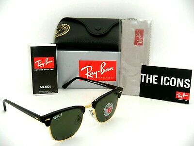 AU168.99 • Buy Ray-Ban Clubmaster RB3016 901/58 51mm POLARIZED Green Classic Lenses Black Frame