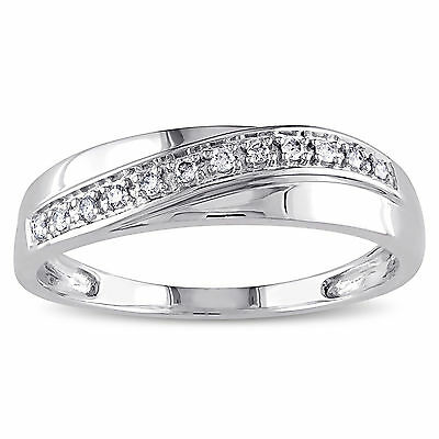 AU1202.28 • Buy Natural Diamond Ring 0.10 Ct Mens Bands 14K Solid White Gold Mens Wedding Rings