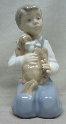 Lladro - Nao -  Forever Friends - #1127 - Boy Kneeling With His Dog - 6  Tall • 14.99£