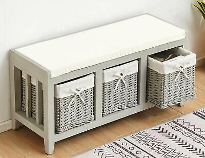 £109 • Buy Grey Painted Wooden Hallway Bench Seat 3 Baskets Pull-Out Storage Cushioned Top